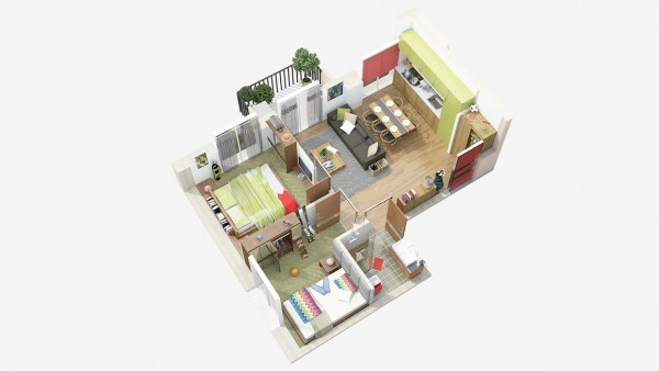 نقشه سه بعدی خانه دو خوابه