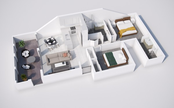 پلان سه بعدی خانه مسکونی دو خوابه