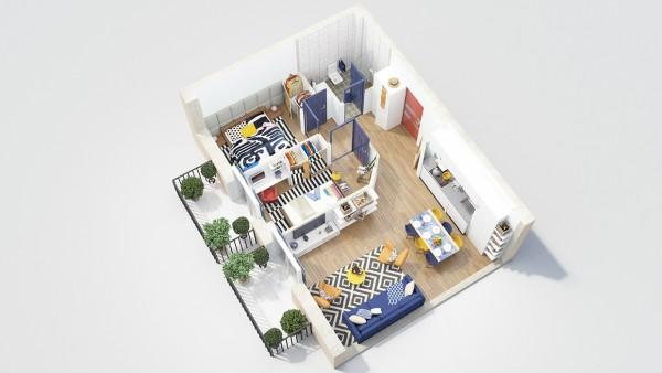 نقشه منزل مسکونی دو خوابه