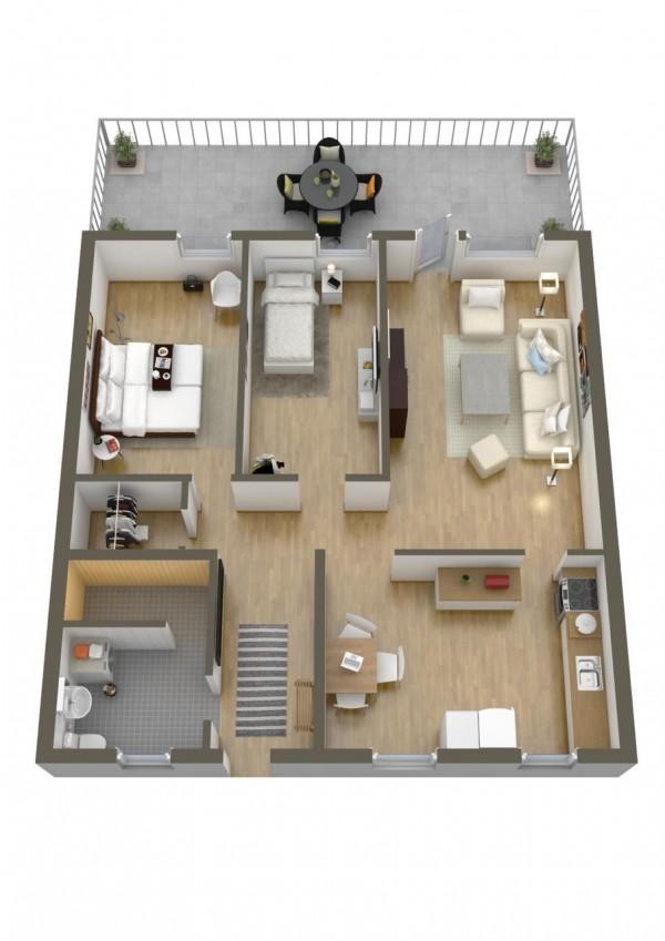 نقشه ساختمانی دو خوابه