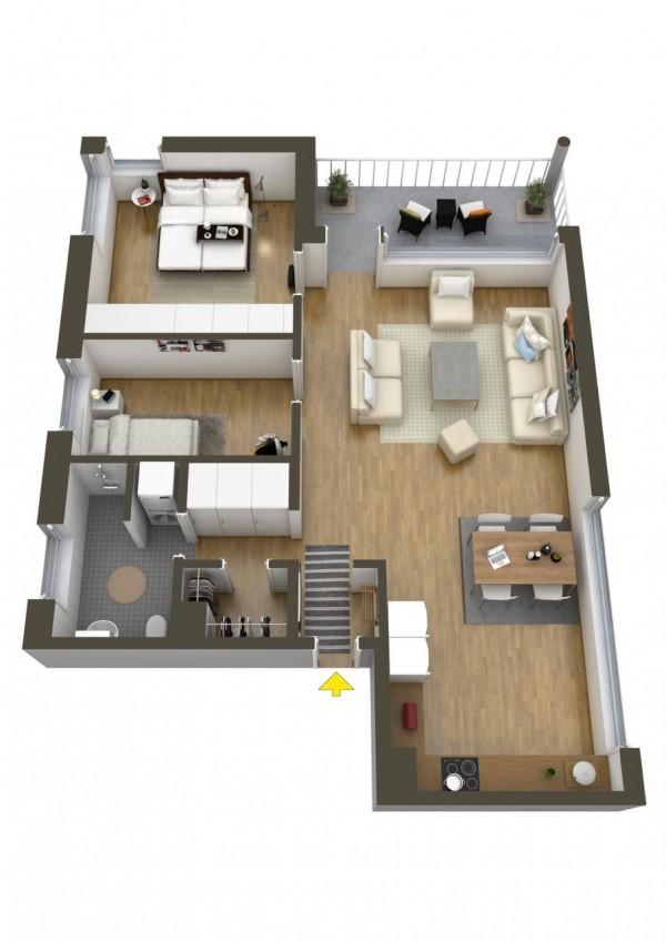 نقشه دو خوابه ساختمان