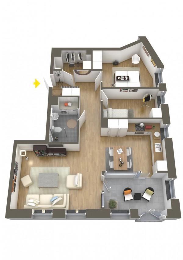 نقشه خانه دو خوابه لوکس