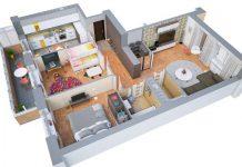 نقشه سه بعدی ساختمان دو خوابه